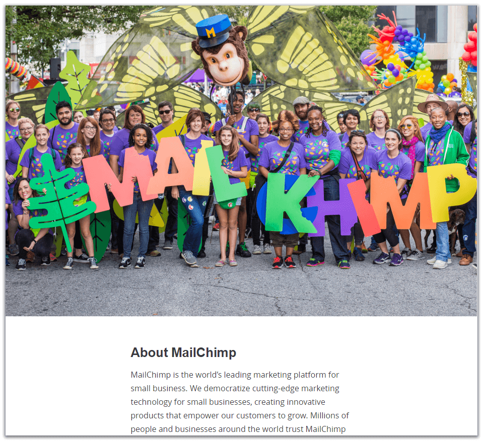 mailchimp business about template