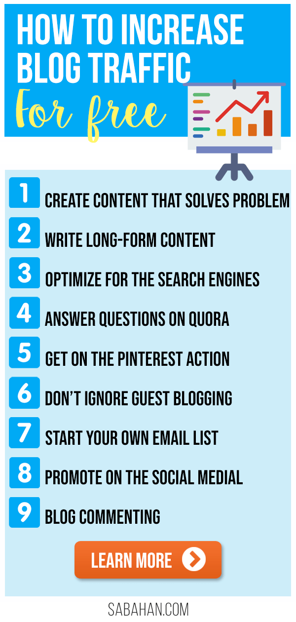 Learn the strategies how to increase blog traffic for free. Drive traffic to your blog now! #blogtraffictips #howtogetblogtraffic #increaseblogtraffic #howtopromoteyourblog