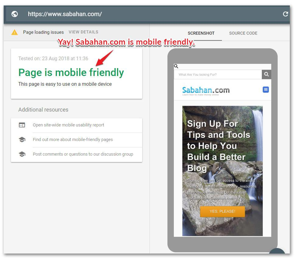 Page mobile friendly test