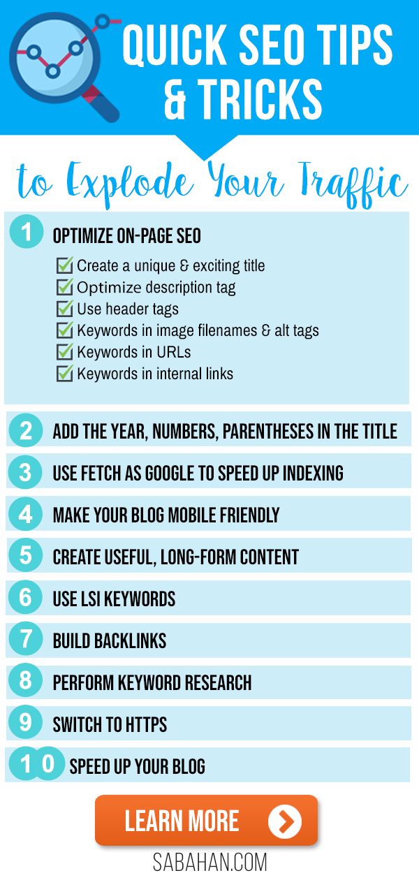 9 SEO Tips and Tricks for Blogs. #seotips #seotricks #blogseo #seoforbloggers #searchengineoptimization