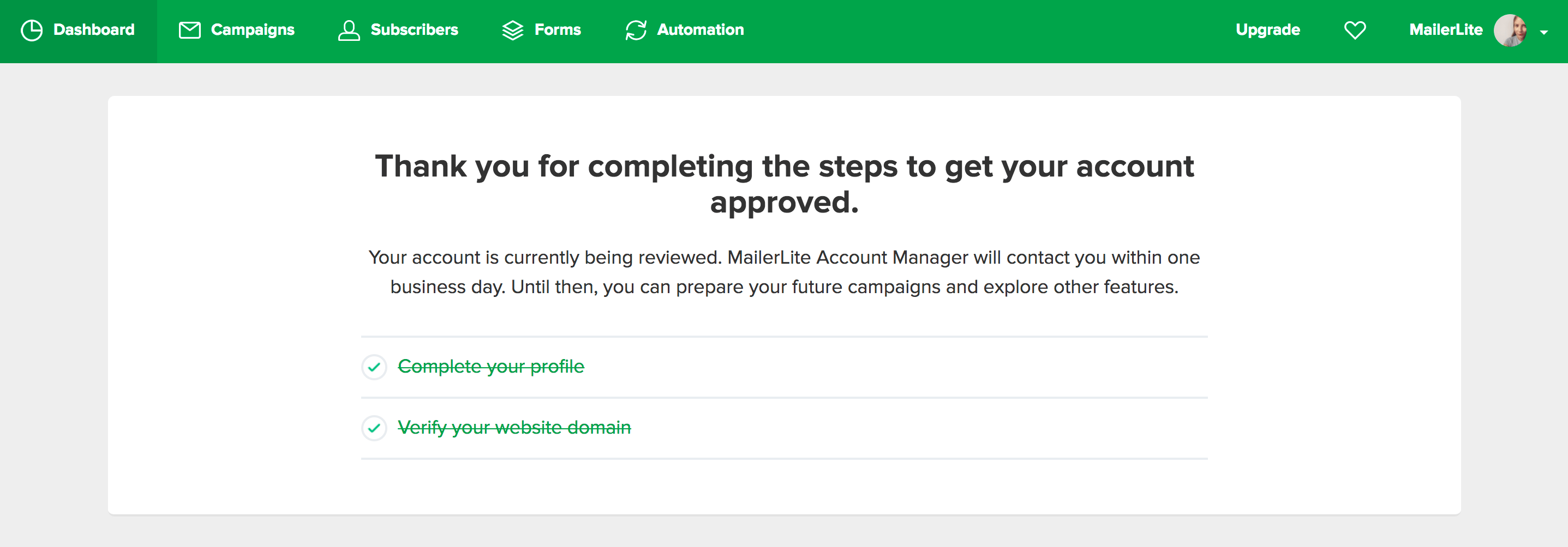 Mailerlite account approval