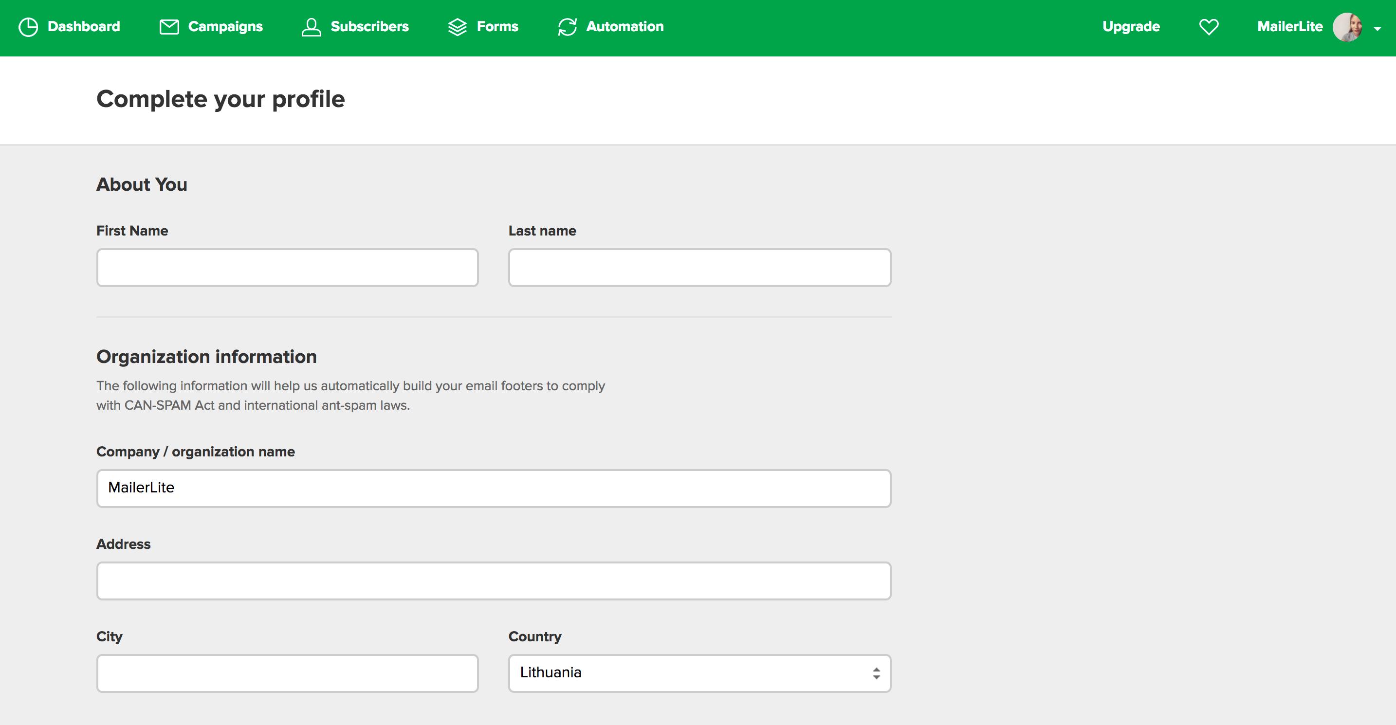 mailerLite profile
