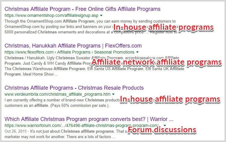 search affiliate programs niche